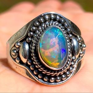 Faceted Ethiopian Opal Sterling Silver Ring